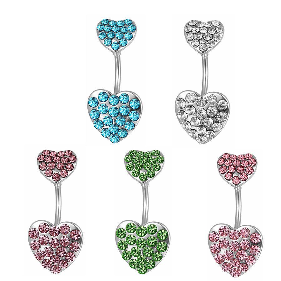 D0204 (5 colores) El doble corazón con perforación de piedras de joyería Anillo de vientre Anillo de ombligo Botón de vientre Anillos de ombligo con colores de mezcla