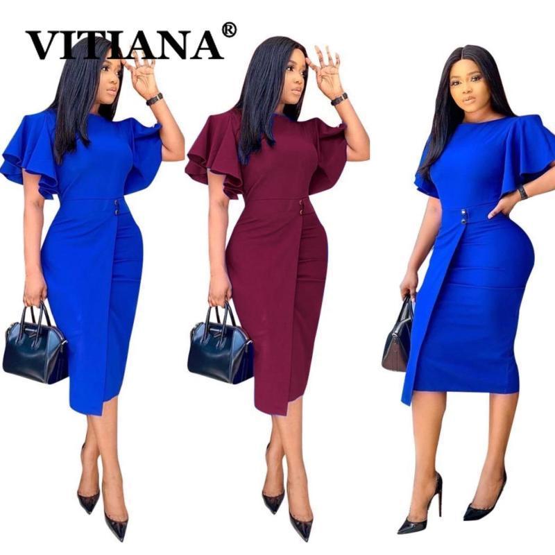 Casual Dresses VITIANA Women Office Pencil Dress For Womens Sumemr 2021 Female Blue Butterfly Sleeve Midi Woman Wine OL Vestidos