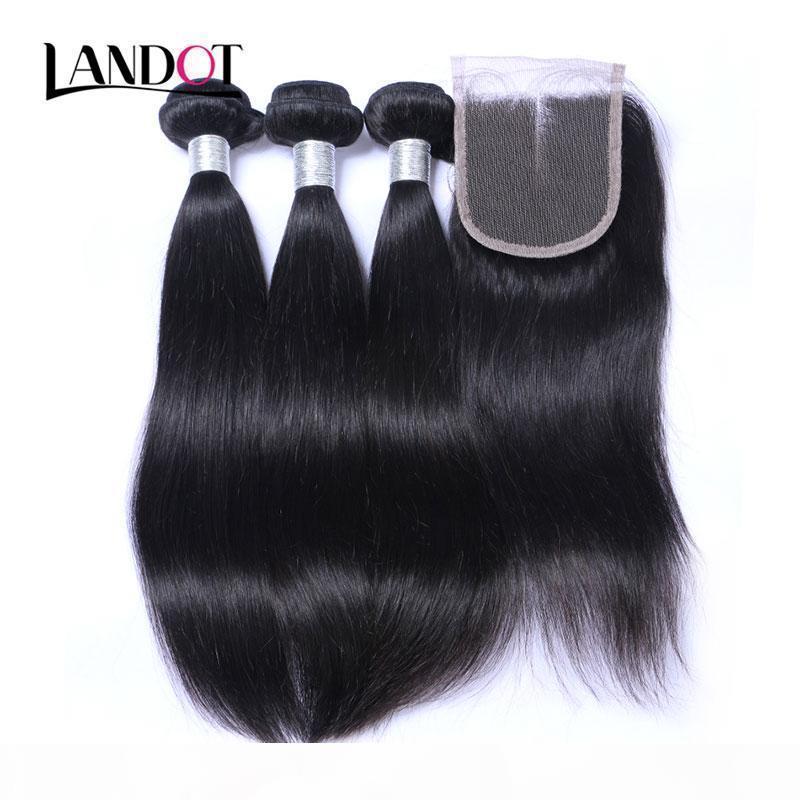 8A кружевное закрытие с 3 связки бразильские прямые волосы девственницы плетены необработанные перуанские малазийские индийские камбоджийские человеческие волосы и закрытия
