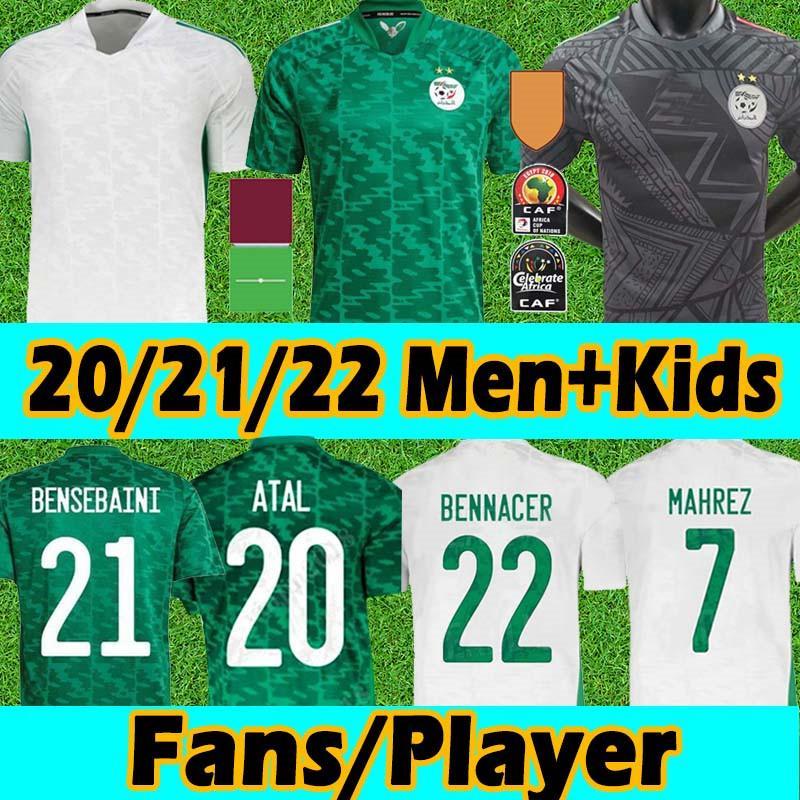 21/22 Algerie Maillot de futebol de futebol jerseys fãs Versão do jogador 2 estrelas Casa Branco Mahrez BounceDjah Bouzza 19 20 Argélia Men Kits Kits uniformes S-2XL
