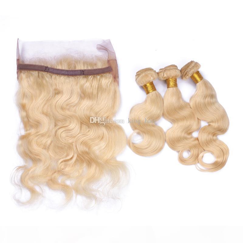 Frontal de la banda de encaje 360 con rubia # 613 onda corporal paquetes de pelo libre parte de la virgen brasileña con 360 banda de encaje frontal 13 * 4 * 2 pulgadas