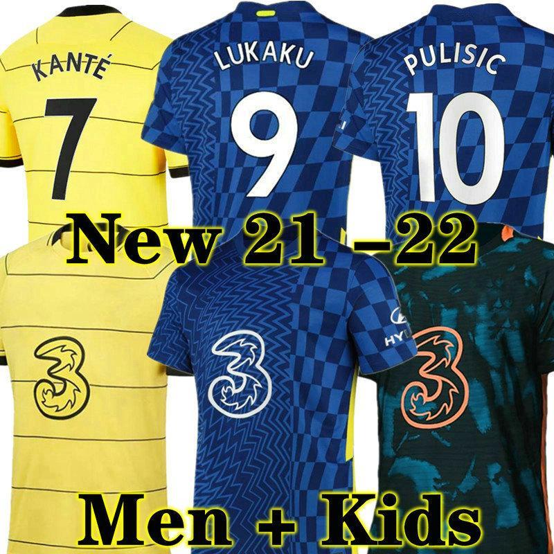 Lukaku CFC 축구 유니폼 Ziyech Pulisic Mount Kante Havertz Werner Abraham Chilwell Giroud Hudson-Odoi 2021 2022 축구 셔츠 21 22 Men + Kids Kit 세트 유니폼 멀리