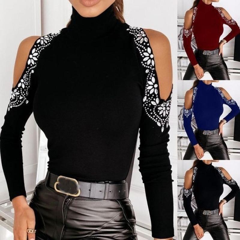 LuTentolo Sexy Manches longues Femme T-shirts Couleur Solide Perçage à l'épaule T-shirt pour femme