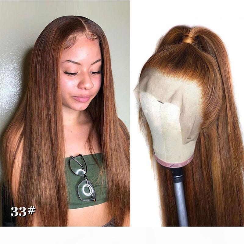 DILYS Human Hair Perücke Brazilian Remy Haar 4x4 Verschluss Perücke Gerade Honig Blonde Farbe Vorgepuckte gebleichte Knoten Spitze Perücken