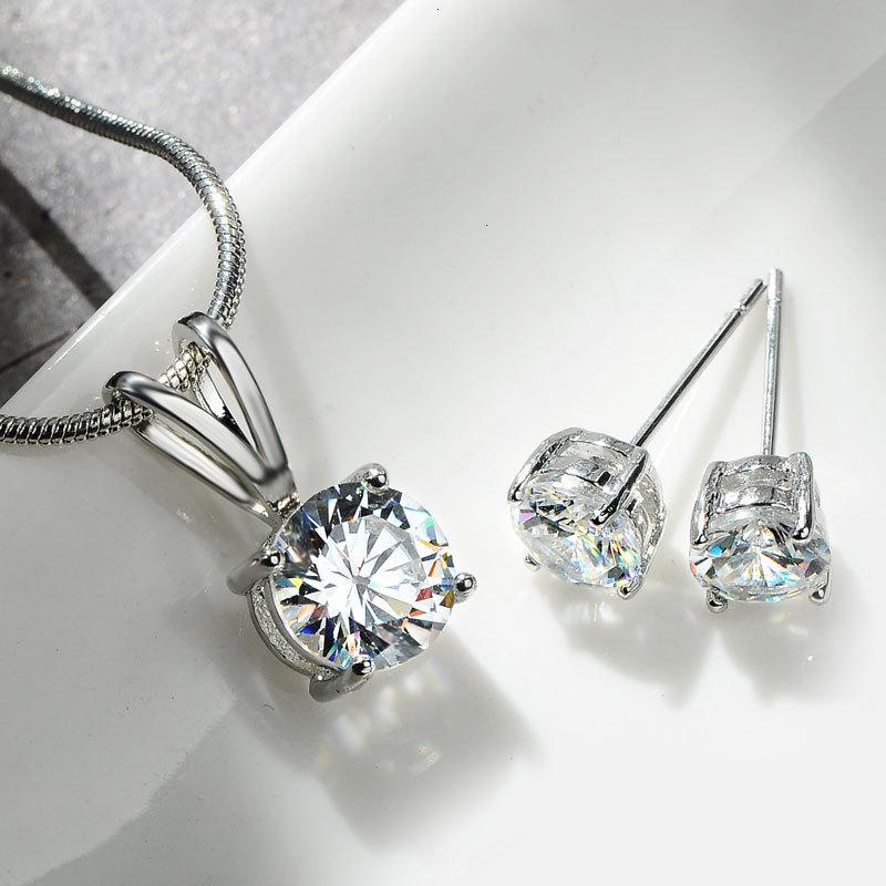 necklace Earrings Bridal Platinum Plated Zircon Nelace Earring Austrian Crystal Two Piece Set