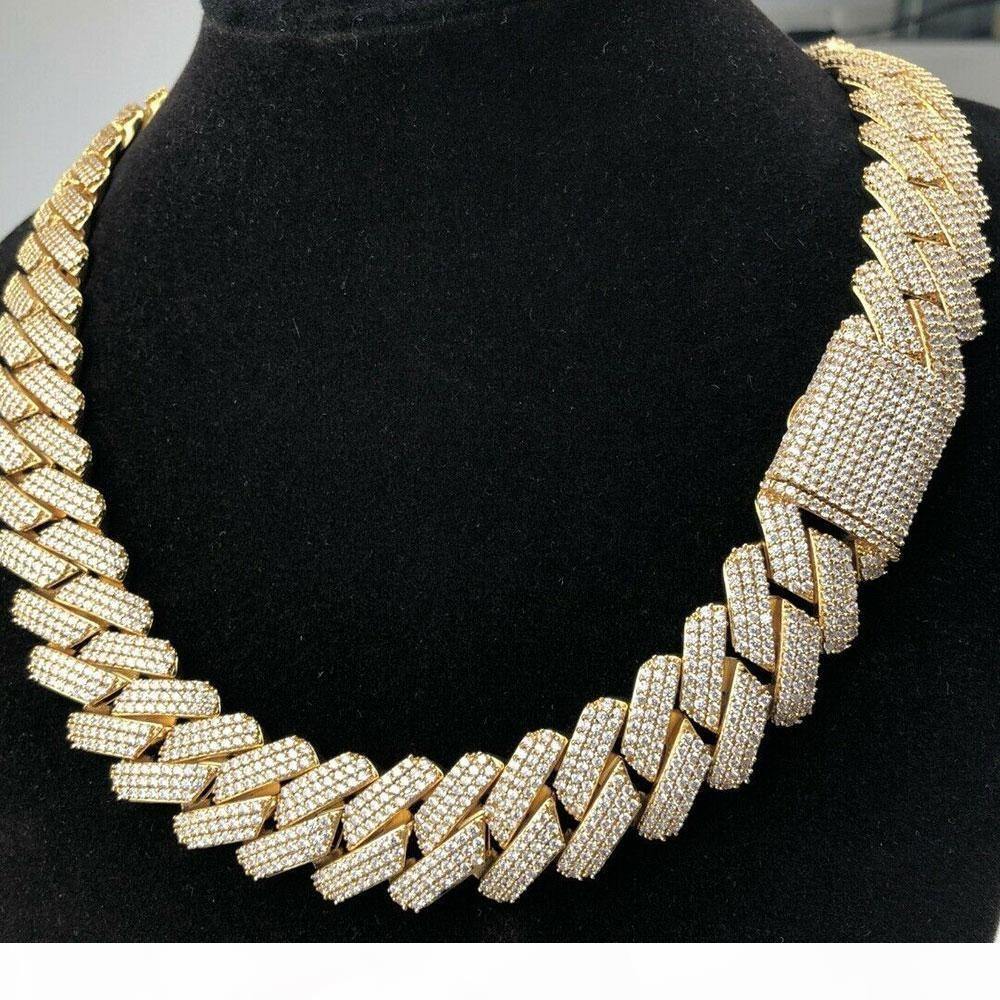 20mm Diamant Miami Prong Cuban Link Kette Choker Halskette Armbänder 14k Weißgold Eiskucel Zirkonia Schmuck 7 Zoll 24 Zirg Kubanische Kette
