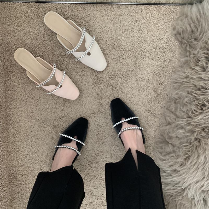 Scarpe Donna 2021 Bassa Femmina Pantofole Glitter Slides Slock Jelly Roma tessuto gomma zoccolo tacchi PU Mary Janes scarpa di cristallo