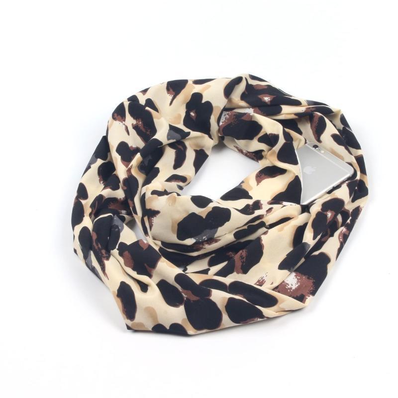 Шарфы кабриолет в бесконечности Scarf All-Match Fashion Women Leopard Print Zipper Pocket Soft Loop