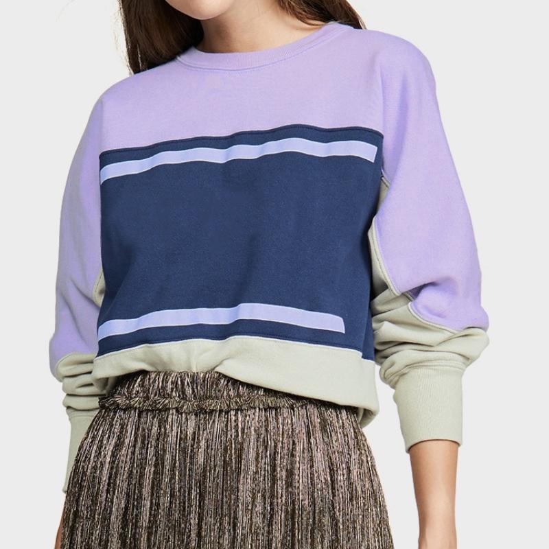 Yeni Fransız Tarzı Ins Kazak Renk Eşleştirme Vintage O-Boyun Uzun Kollu Sokak Kazak Tişörtü Moda İlkbahar Yaz Kazak Gömlek