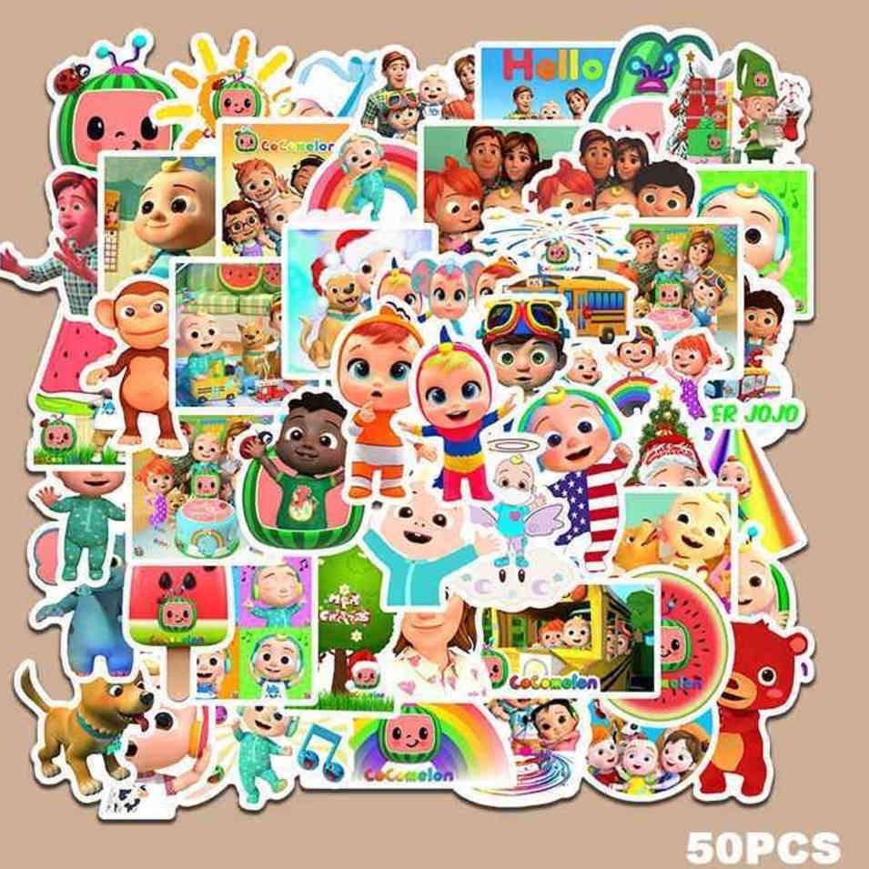 50 Piezas / Paquete COCOMELON JJ Litter Boys DIY Pegatina Dibujos animados Lindos Niños Libros Botella de Agua Paster Moda Pegatinas GG35GWQE