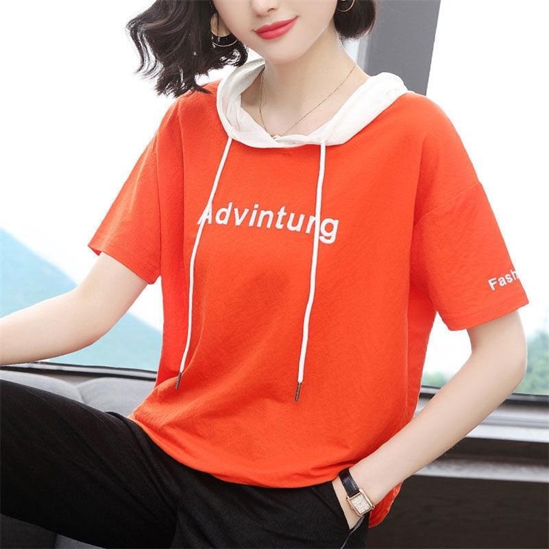 2021 100% cotone con cappuccio o collo t shirt donna estate manica corta camicia donna t-shirt allentata stile coreano plus size camicie da donna 210317