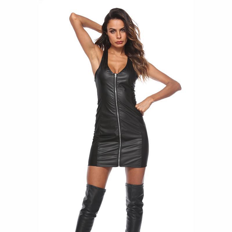 Seksi Kadın Bodycon Mini Spandex Elbise Ince Islak Bak Club Giymek PU Zip Up Kolsuz Akşam Parti Günlük Elbiseler