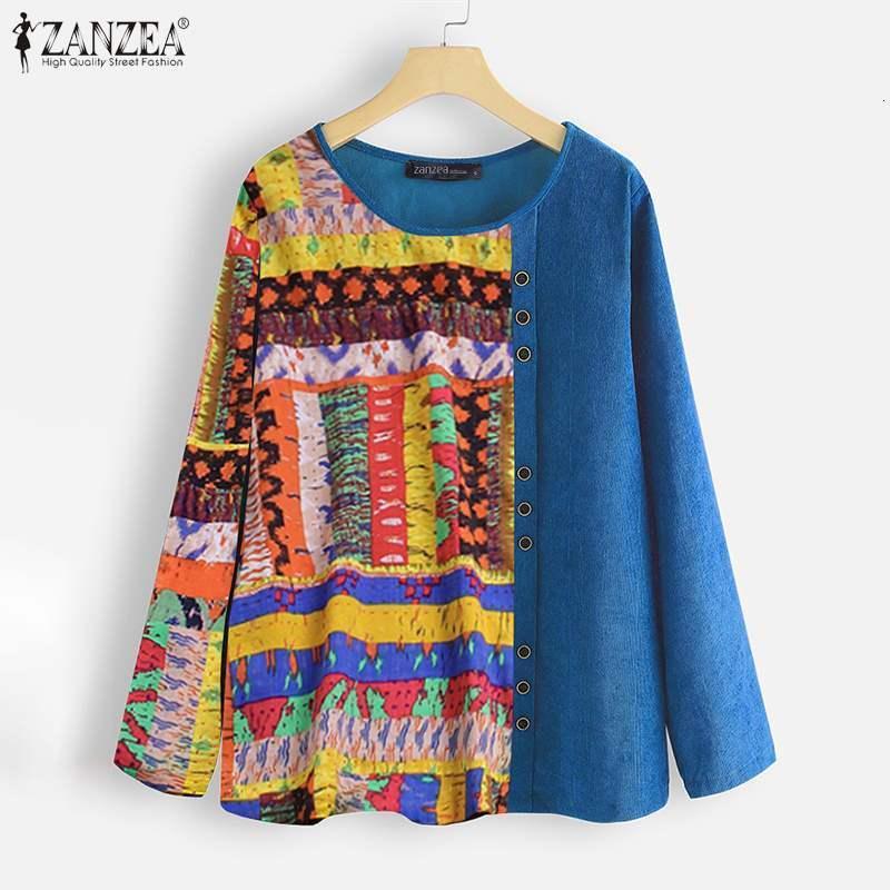 Blusas Tallas grandes Vintage Mujeres Blusa de Corduroy 2021 Spring Patchwork Imprimir T Shirts Casual Manga Larga O-Cuello Tops Blusa Femme 5XL