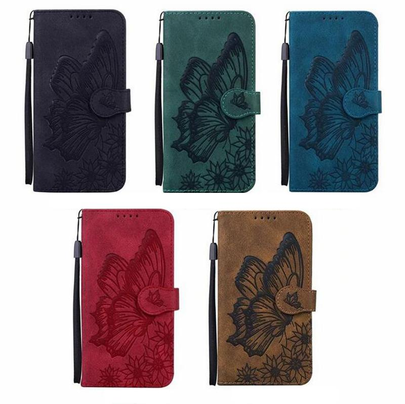 Imprint Butterfly Flower Vintage Leather Wallet Cases For Samsung A32 A52 A72 A10S A20S A02 S21 Plus S20 FE Note 20 Ultra A21 A51 A71 A21S A42 5G A12 Holder Flip Cover