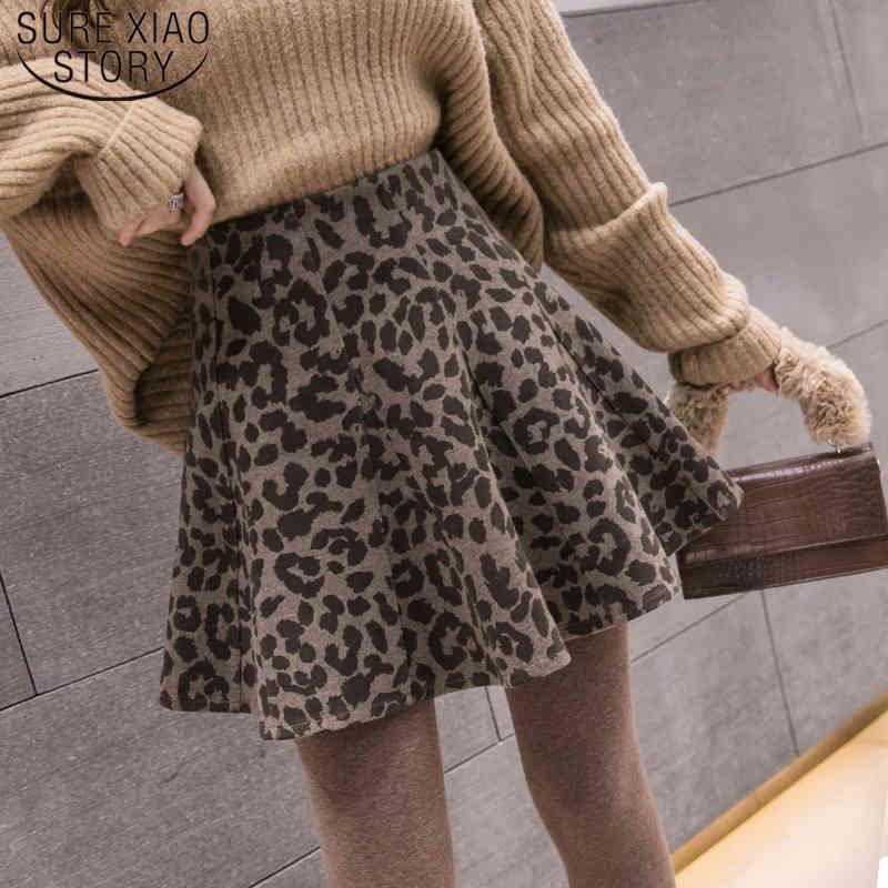 Hohe Taille Wolle Minirock Herbst Winter Ankunft Rock Elegante Ein Linie Regenschirm Weibliche 7742 50 210512
