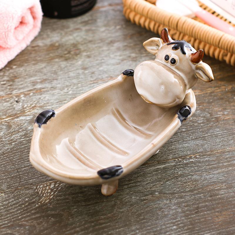 لطيف الكرتون الحيوان السيراميك البقر الأغنام خردة خنزير ماوس الصابون مربع لوحة المفاتيح موزع الحمام تغيير تخزين يمكن استنزاف زجاجات الجرار