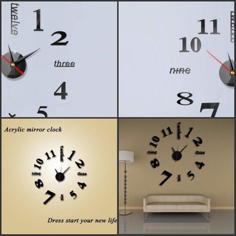 가족 DIY 벽 스티커 시계 독창성 홈 가구 DIY 3D 아크릴 거실 장식 숫자 미러 시계 아트 5 6JW F2