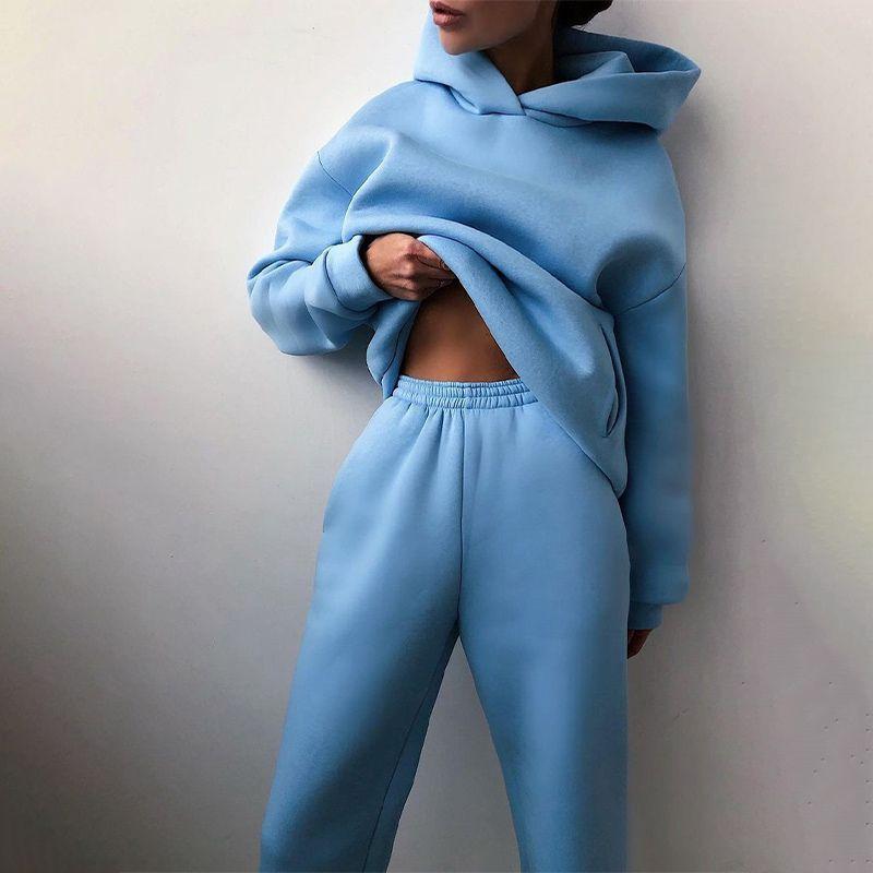 Sweats à capuche pour femmes deux pièces Ensemble à manches longues Solide Casual Pocket Pocket Pocket Support Printemps 2021 Pantalon de sport élastique Femme Tracksuit