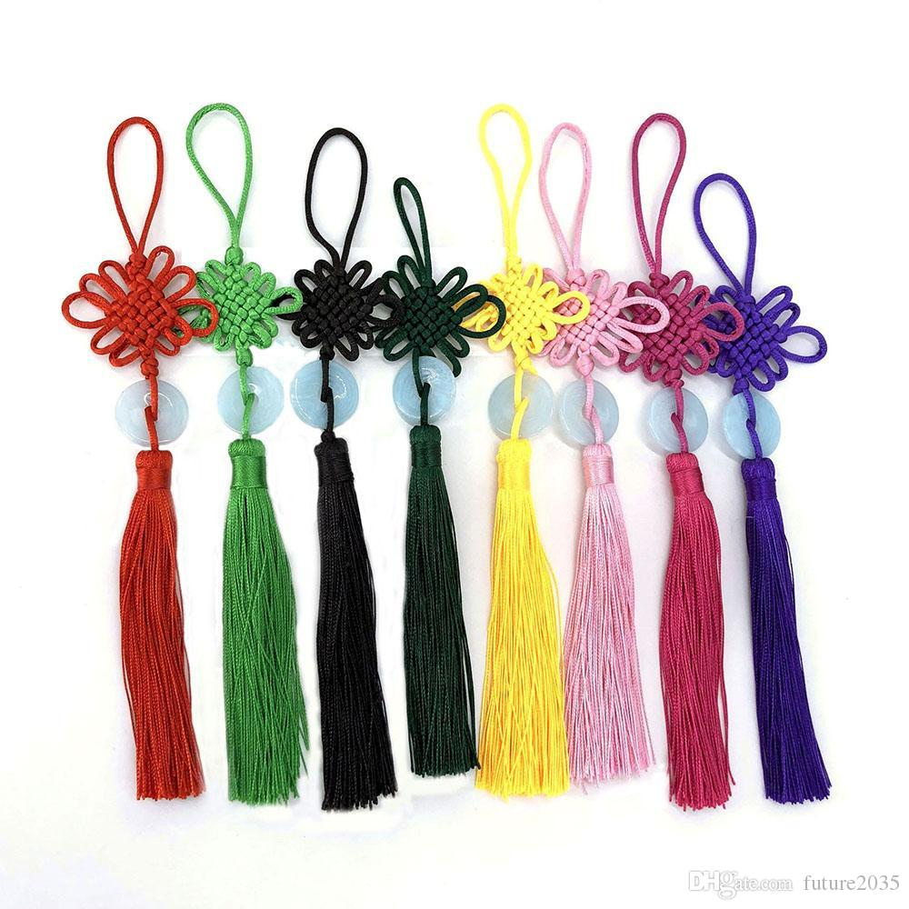 Party Favor Chinese Knot Tassel Pendant Beautiful Jade Decoration DIY Bamboo Weaving Crafts