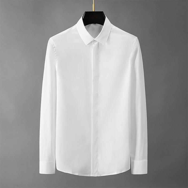 Erkek Casual Gömlek Trendy Saf Beyaz Uzun kollu dibe iş erkekler yaz