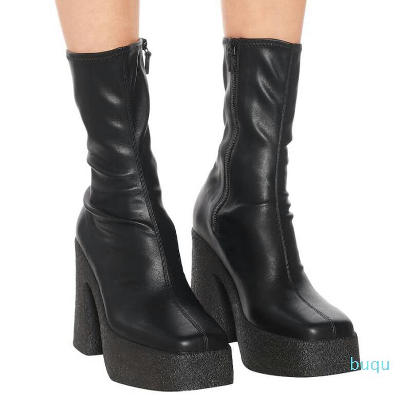 Tasarımcı-platform elastik çorap çizmeler streç yüksek topuk kadın ayak bileği çizmeler topuk kısa çizmeler tıknaz topuk ayakkabı parti patik