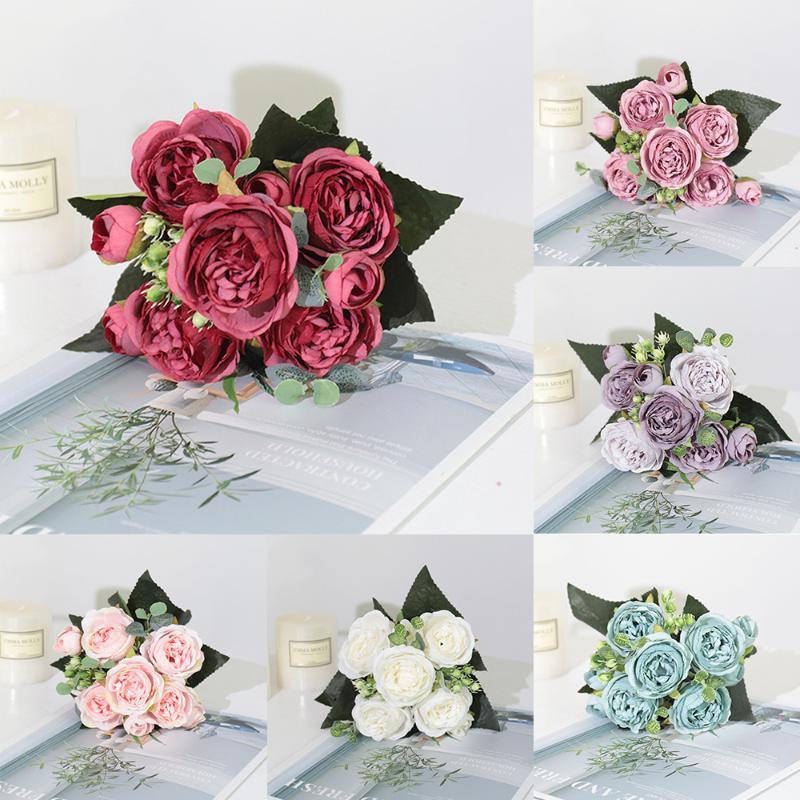 Декоративные цветы венки искусственные пион чай роза шелкография поддельные для DIY гостиной домашний сад Свадебное украшение