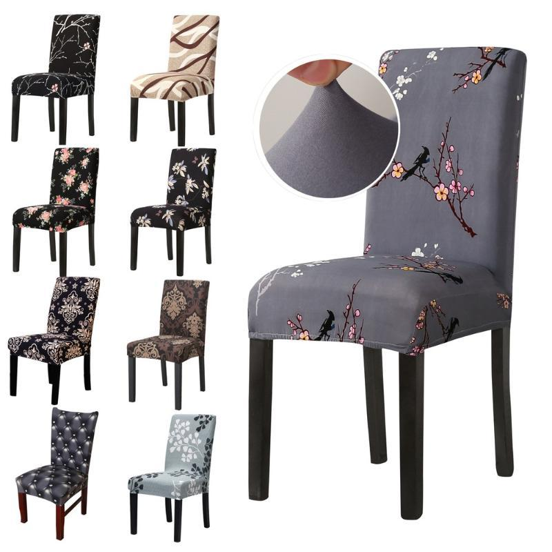 Chair Covers 2/4/6/8Pcs Spandex Cover Elastic Printed Dining Slipcover Removable Anti-dirty Kitchen Seat Case Stretch Banquet