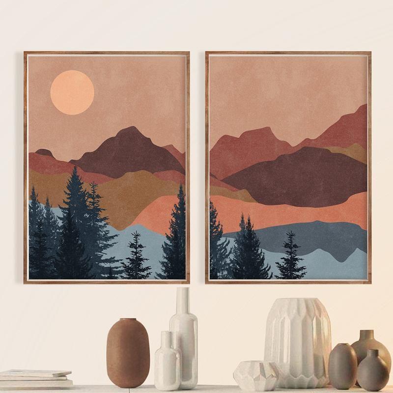 Boho Abstrait Paysage Nordic Posters et impressions Terracotta Sun Mountain Mur Art Art Toile Peinture Sunset Image Décor peintures