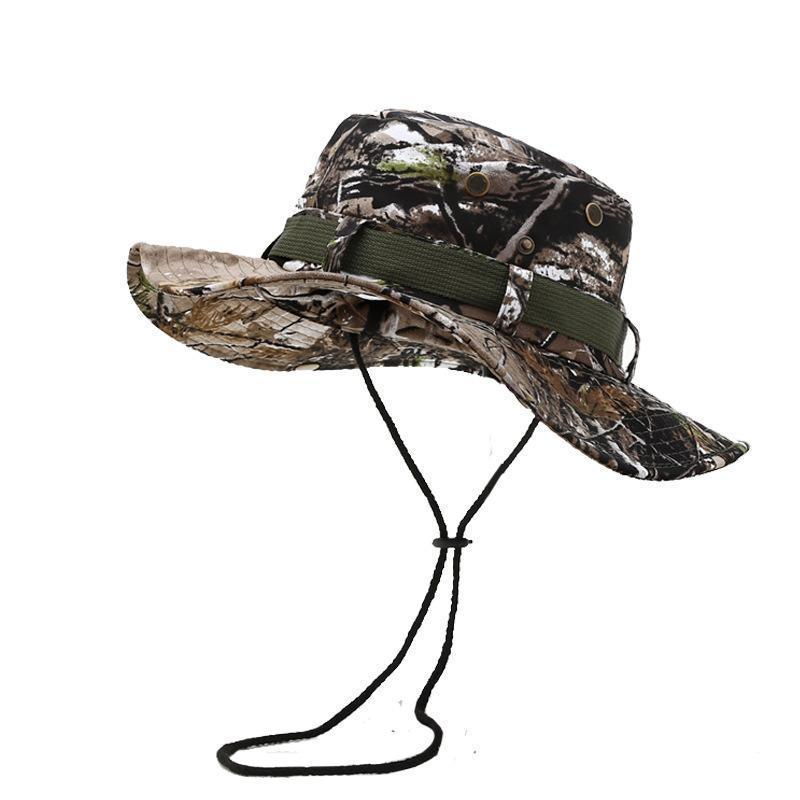 Kova Şapka Balıkçı Balıkçılık Şapka Açık Spor Seyahat Orman Kamuflaj Bush Avcılık Boonie Taktik Kapaklar