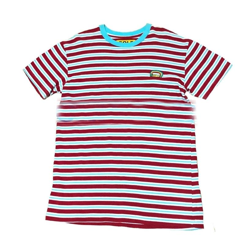 Nuovo arcobaleno a strisce Golf Le Fleur Tyler The Creator T Shirt T-shirt Hip Hop Skateboard Street Cotton T-shirt T-shirt Top # 210317