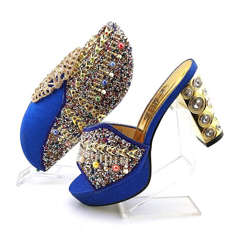 Maravillosos zapatos azules azules de los zapatos Moneda con bombas y bolso africano de Rhinestone set para el vestido QSL018, Talón 10.5cm