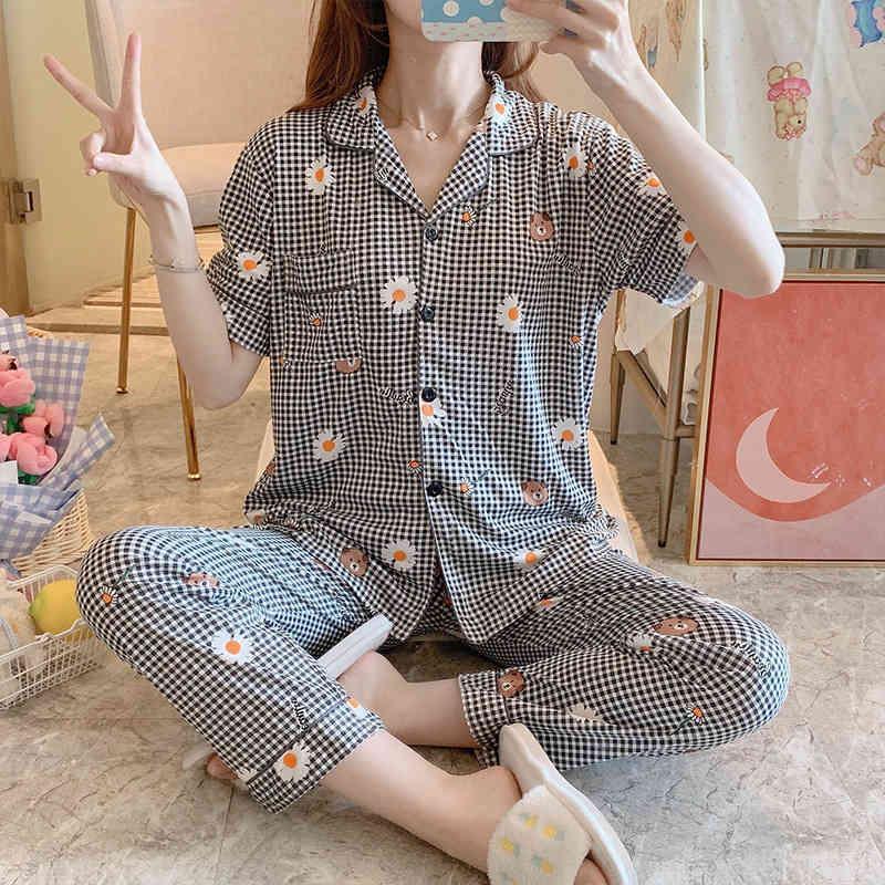 Pyjamas Sets Frauen Sommer Cartoon Freizeit Kurzarm Ganzkörperansicht dünne koreanische Version Schöne lose Home Anzug Nachtwäsche