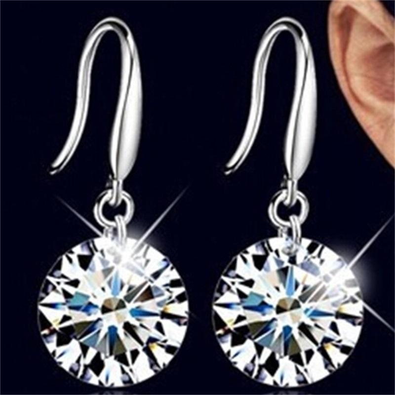 매달려있는 귀걸이 925 스털링 실버 웨딩 귀걸이 여성이 귀걸이가있는 패션 매력 쥬얼리 스터드 귀걸이 164 Q2