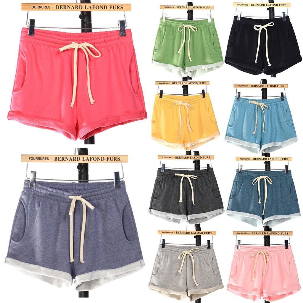 Femme Shorts Femmes Casual Poches Solides Élastique Taille haute Élastique Pajama Spodenki Damskie Sport Pantalones Cortos de Mujer