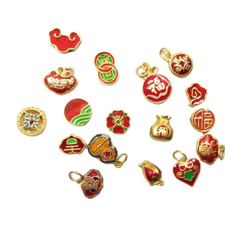17 stücke original design emaille porzellan bunte handwerk ruyi schloss charme anhänger chinesisch retro stil einzigartig charme männer und frauen schmuck