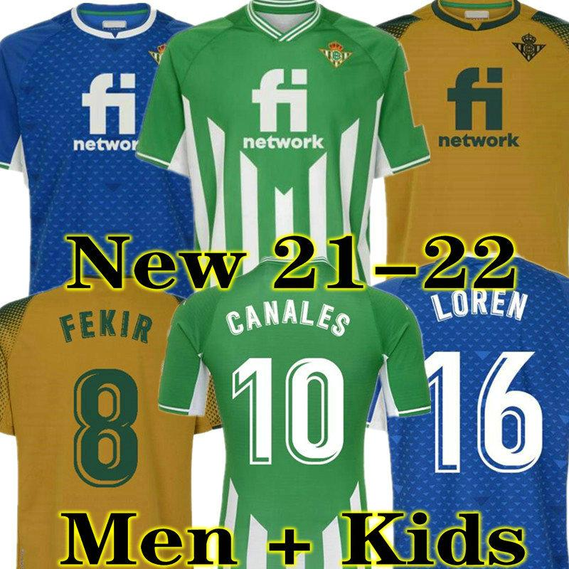Canales 21 22 echte Betize-Fußball-Fußball-Trikots 2021 2022 Fekir Loren Joaquin B. Iglesias Juanmi Football Hemd Guardado C. TELLO William Männer Jersey Kids Kit Sets