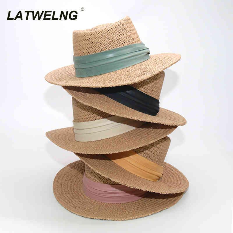 الجملة 10 ألوان أنثى القبعات الفرنسية القبعات المألوف insshade مقعر أعلى قبعة المرأة اليدوية شاطئ القبعات دروبشيبينغ 210323