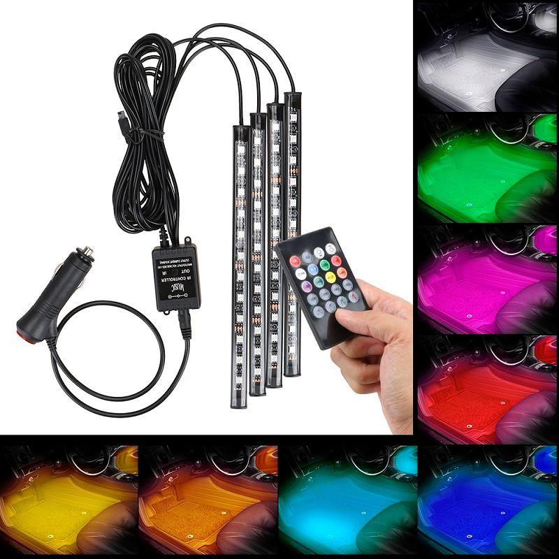 4 en 1 voiture à l'intérieur de l'atmosphère Lampe 48 LED Intérieur Décoration Éclairage RGB 16-Couleur LED Télécommande sans fil 5050 Chuce 12V Charge Charmante