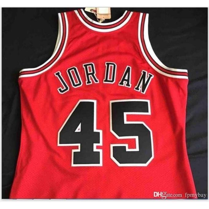 Özel Bay Gençlik Kadınlar Vintage1994-95 Michael # 45 Mesh Gerçek Koleji Basketbol Forması Boyutu S-6XL veya Özel Herhangi Bir Ad veya Numarası Jersey