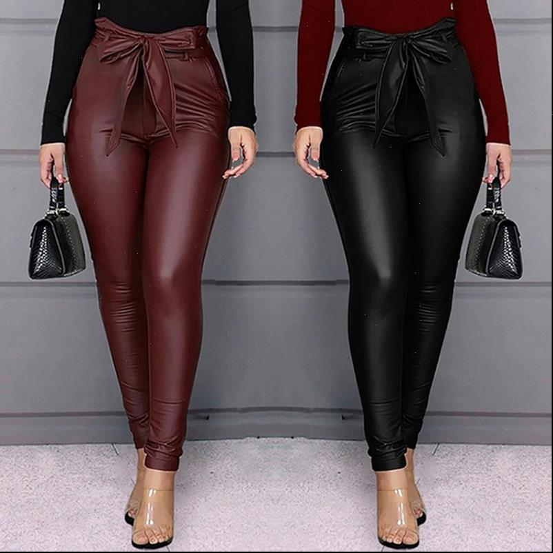 Black Womens Capri Belt High Waist Pencil Pant Women Faux Leather PU Sashes Long Trousers Casual Sexy Exclusive Design Fashion