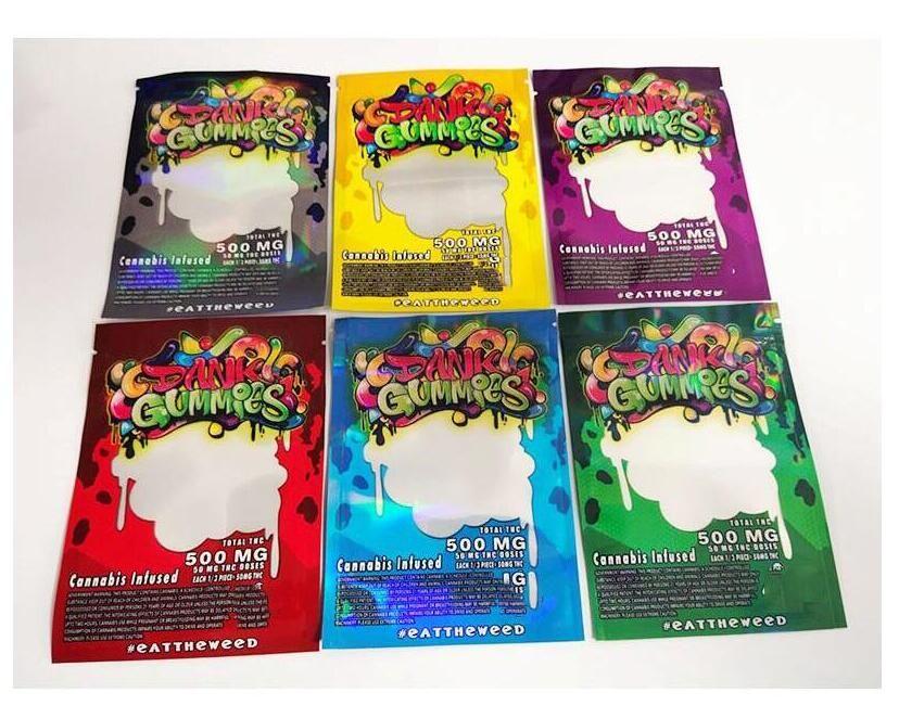 Edibles Упаковка 500 мг Dank Gummies Bags Bags Worms Bears Кубики Gummy Оптовая продажа от фабрики Chuckles Runtz Sprity