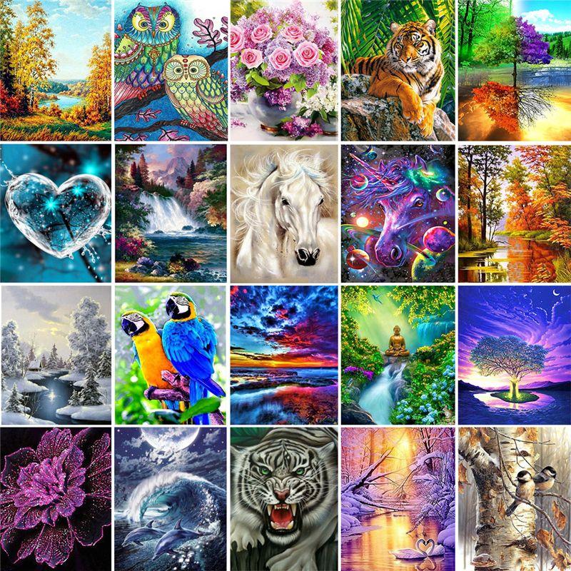 5d Paintings Arts regalos 5d DIY Diamond Painting Cross CTICK KITS DIAMANTE Mosaico Bordado Paisaje Animales Pintura Redonda Mar GWC6917