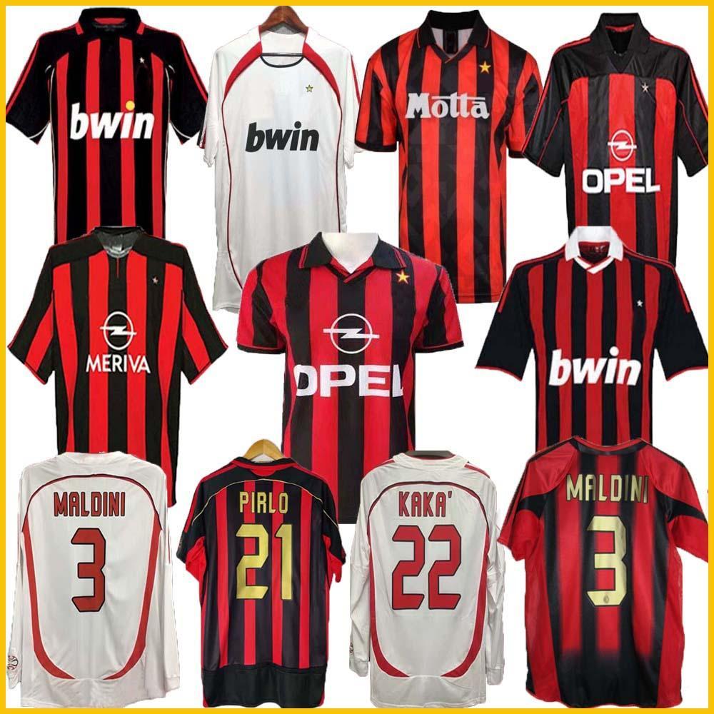 Manga Longa 90 91 Retro Camisas Home 96 97 Gullit Jersey 01 02 03 Maldini Van Basten Football Ronaldo Kaká Inzaghi 06 07 AC Milan 2009
