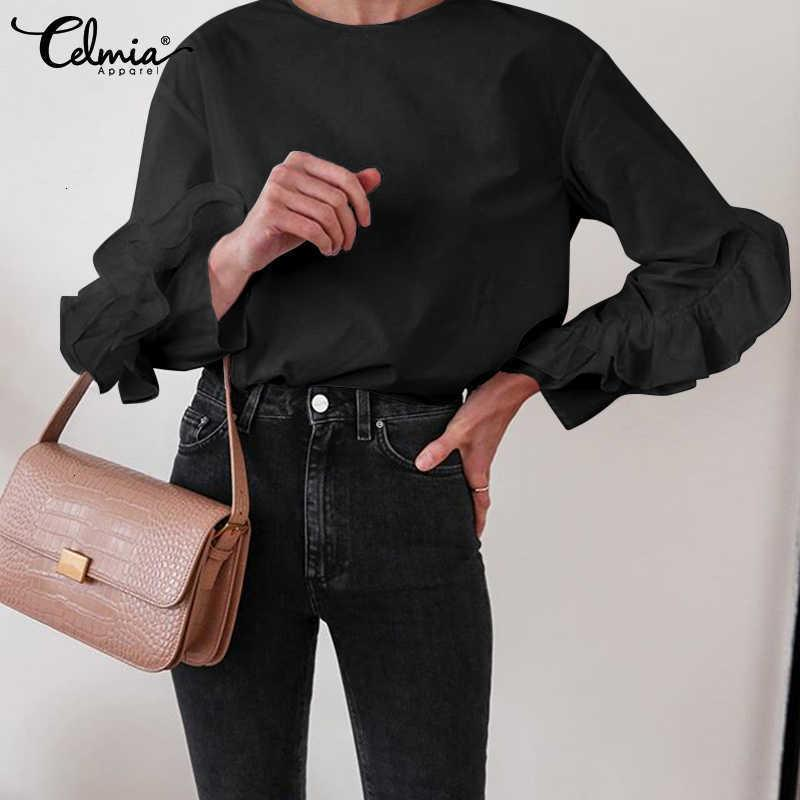 Frauen Blusen Hemden Blusen plus Größe Celmia Elegante Rüschen Frauen Mode Oansatz Dünne Oberteile Weibliche Herbst Beiläufige Lose Langarm Solid S SXQH