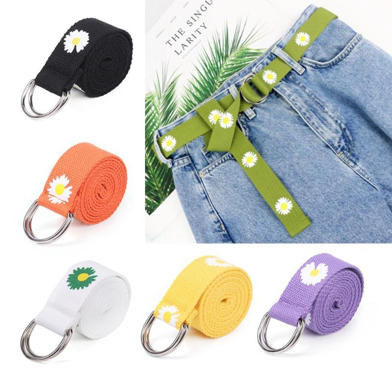Mulheres ajustáveis homens pequenas margaridas impressas cintos lona dupla fivela punk cintura cinta longa calça jeans vestido cintura