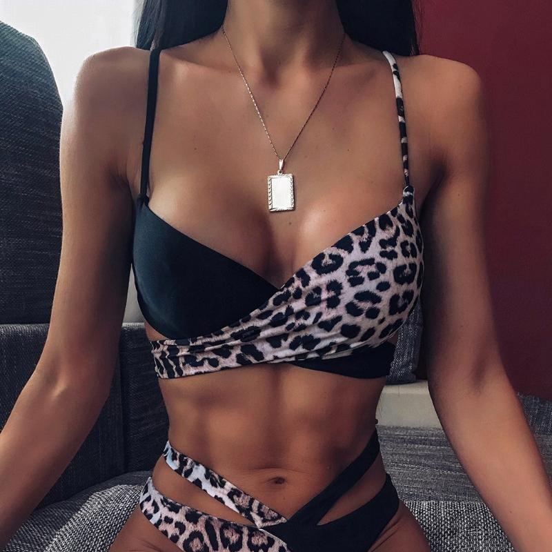 Leopar Baskı kadın Mayo Yüksek Yüzme Sandıklar Ile 2 Parça Set Mayolar Seksi Brezilyalı Bikini Mayo Vestido Mujer