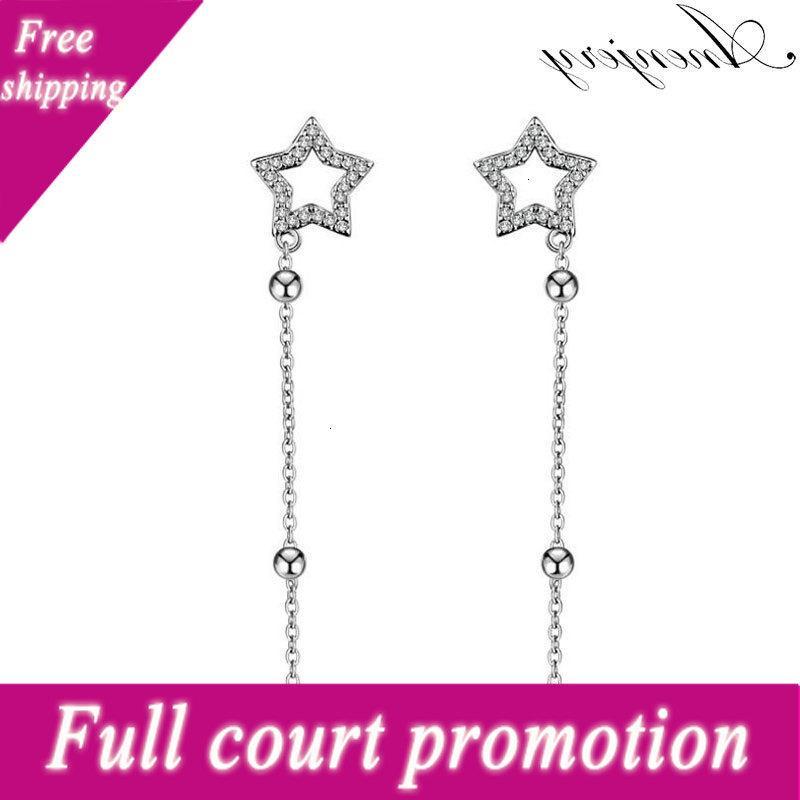 Anenjery Silver Color Brillant Zircon Crystal Chaîne Chaîne pour Femmes Star Pendentif Boucles d'oreilles S-E363