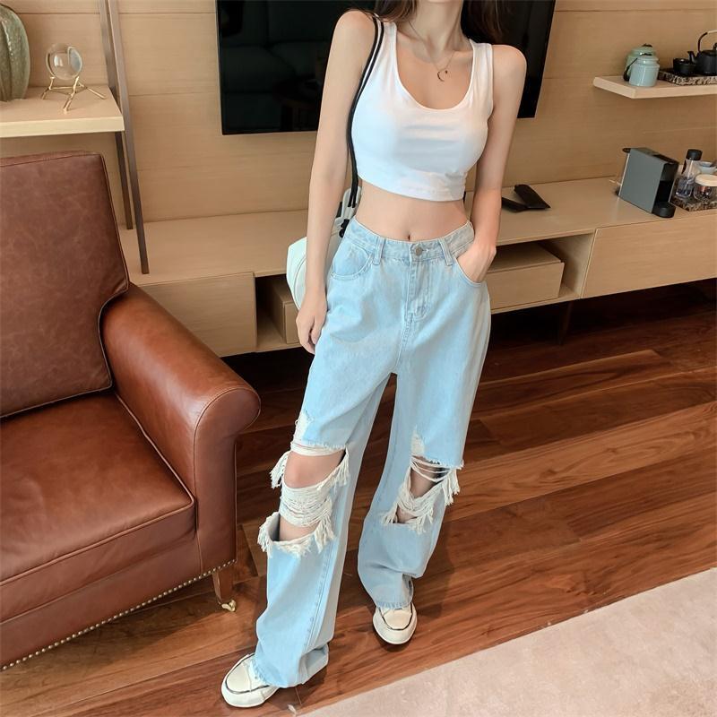 Women's Jeans 2021 Summer Light Color Casual Ripped Pants High Waist Straight Wide Leg Calças Femininas Com Frete Gratis