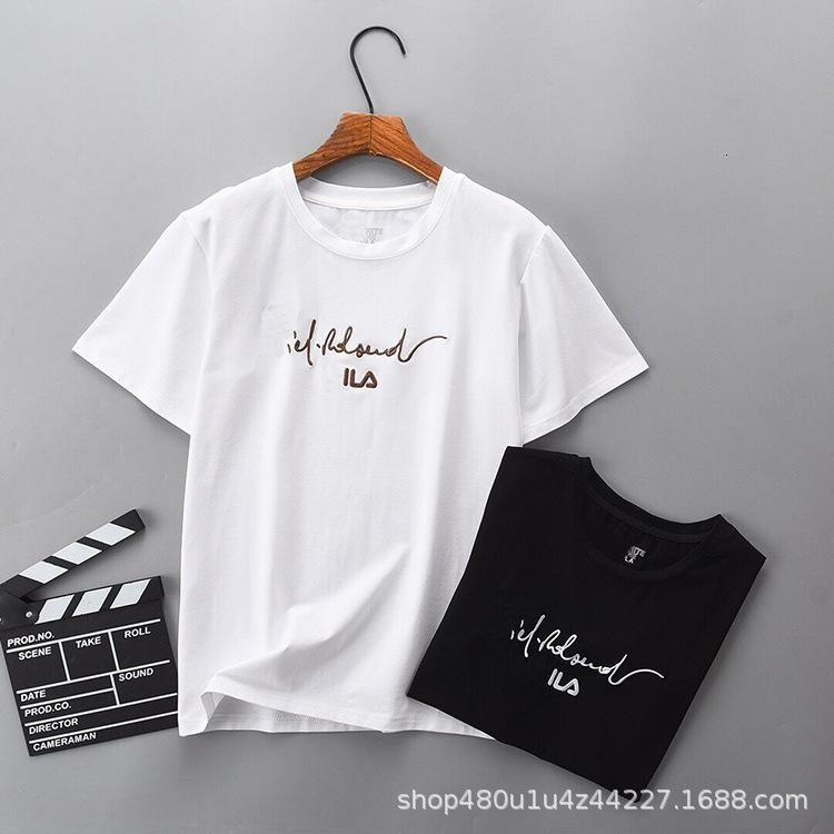 2021 Flop de manga de primavera mujeres de manga corta suelta de verano de moda ocio deportes camiseta blusa