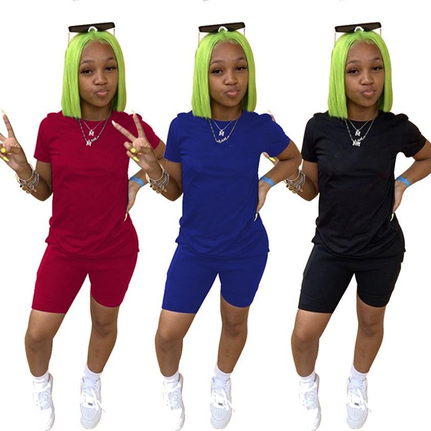 Designer Women 2 Pz TrackSuits Tute da jogging estivo Abiti da jogging manica corta T-shirt manica corta Plus Size 2xl Sweatsuits Yoga Abiti da Yoga Stampati Gym Abbigliamento da ginnastica Sport Abbigliamento Sportivo 4652